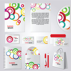 Colorful circle corporate identity template design