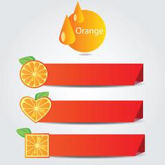 Shapes of orange fruit - set of banners