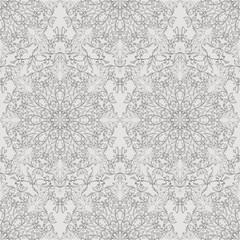 Monochrome seamless floral pattern.
