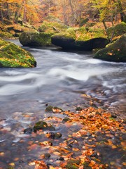 Autumn colorful gravel and green mossy boulders on river banks