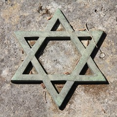 Jewish symbol at Campo Verano Cemetery in Rome