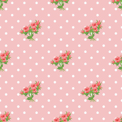 Seamless pattern with roses and polka dots.