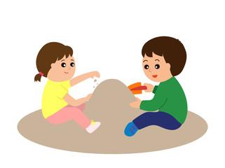 Little children playing in the sandbox