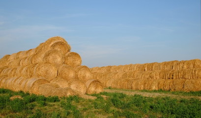 Landscape with bales of straw