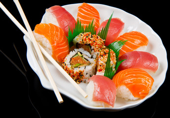 fresh sushi traditional japanese food
