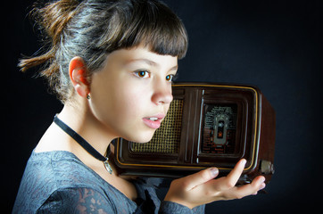 Girl With Old Radio