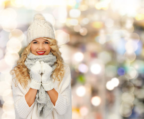 smiling young woman in winter clothes
