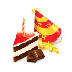 Birthday cake, isolated vector illustration