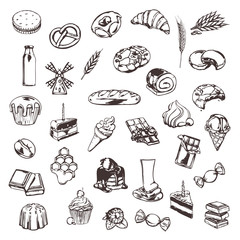 Confectionery, sketches of icons vector set