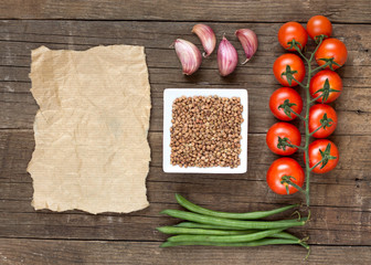 Raw Organic buckwheat, vegetables and paper