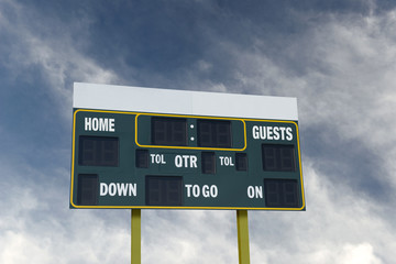 american football scoreboard with blue sky