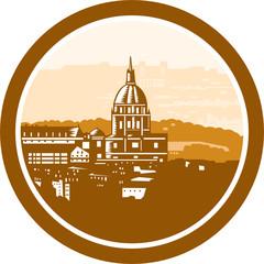 Gold Chapel Dome of Les Invalides Paris France Woodcut
