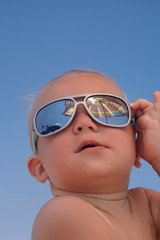 Portrait of baby boy with sunglasses
