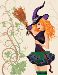 Beautiful witch and spider, halloween card. vector illustration