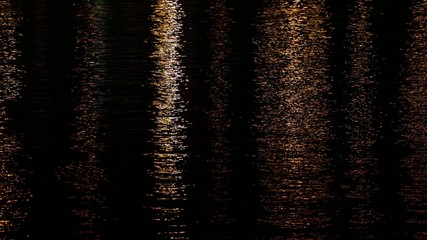 Rippling water in the harbor at night