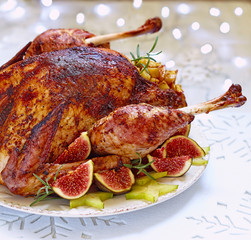 Roasted turkey with fruits