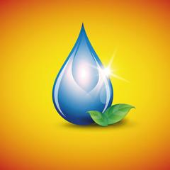 Blue shiny water drop. Vector illustration