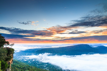 Pha Mo I Daeng Cliff and the sea of mist, Sisaket, Thailand