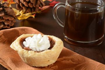 Mini pecan pie and coffee