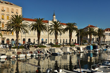 Boats Docked at Harbor in Split