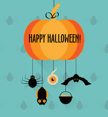 Halloween pumpkin card or invitation; vector illustration
