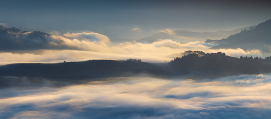 thick fog in mountains Carpathians