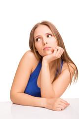 Girl thinking over white