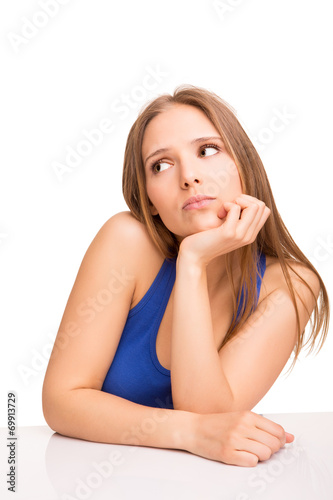 canvas print picture Girl thinking over white
