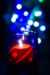 Bokeh beautiful light and fragrance candle in the darkness