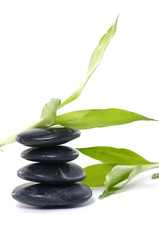 Stacked pebbles & bamboo leaf- Beauty treatment
