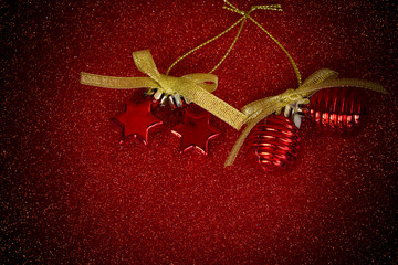 Ornaments on red blackground