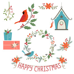 Christmas decorations and birds
