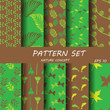 green and brown seampless pattern set