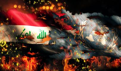 Iraq UN Flag War Torn Fire International Conflict 3D