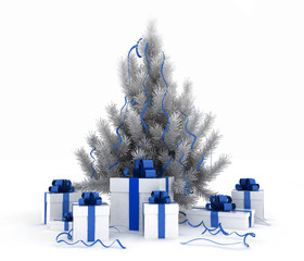 3d illustration of christmas tree and gift boxes