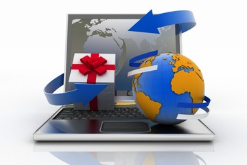 Laptop with arrow and Shopping cart with a globe