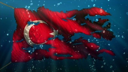 Turkey Under Water Sea Torn Flag Loop Animation