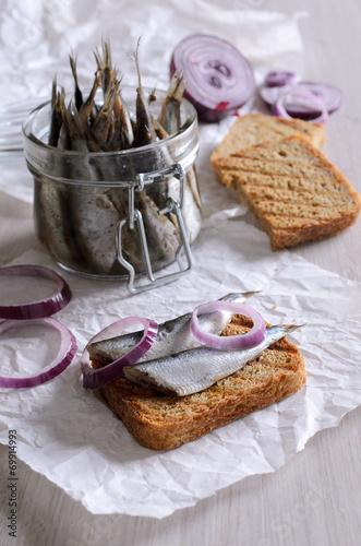 Fototapeta Sandwich with anchovies