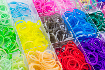 Close up Colorful of elastic loom bands.
