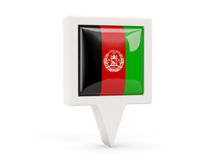 Square flag icon of afghanistan