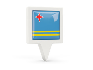 Square flag icon of aruba