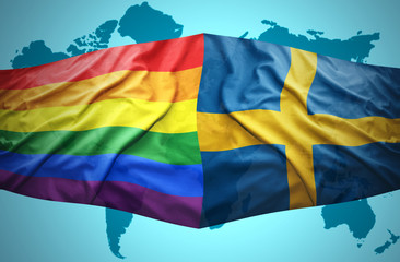 Sweden and Rainbow flags