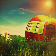 funny farm. abstract fantastic landscape with apple house and be