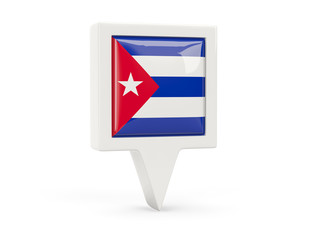 Square flag icon of cuba