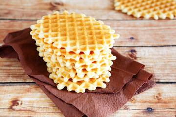 stack of golden waffles