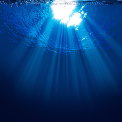 Abyss, abstract underwater backgrounds with sun beam
