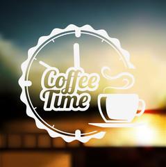 Premium coffee label over defocus background