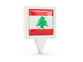 Square flag icon of lebanon