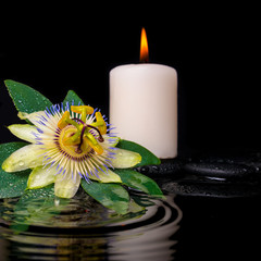 spa setting of passiflora flower, green leaf with drop and candl