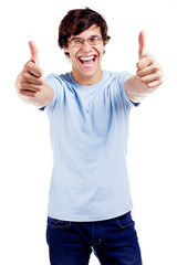 Cheerful guy showing thumbs up